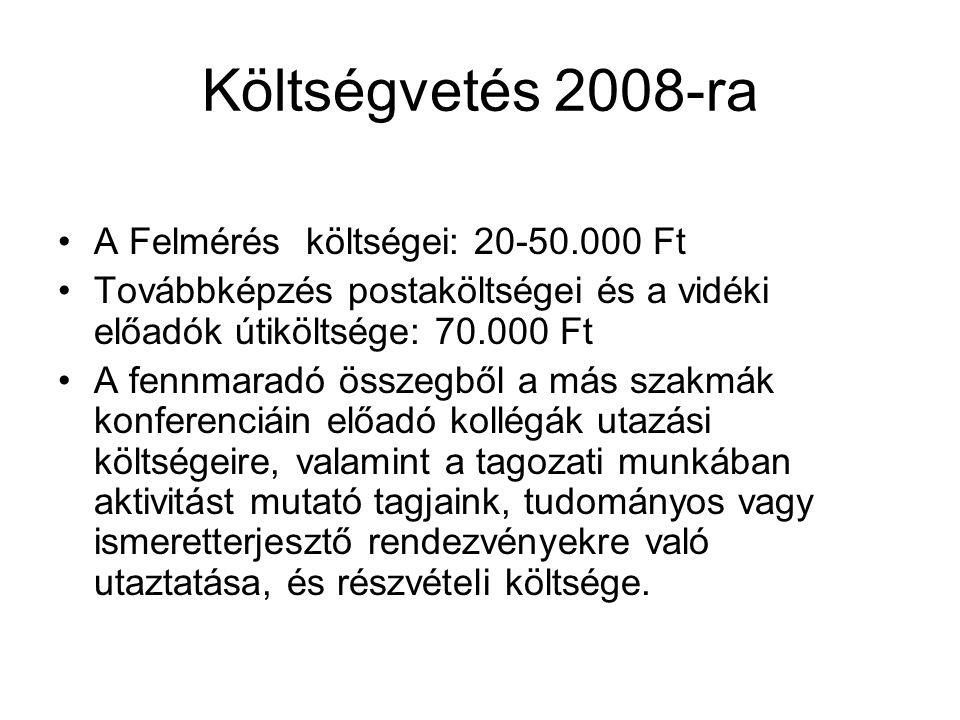 Költségvetés 2008-ra A Felmérés költségei: 20-50.000 Ft