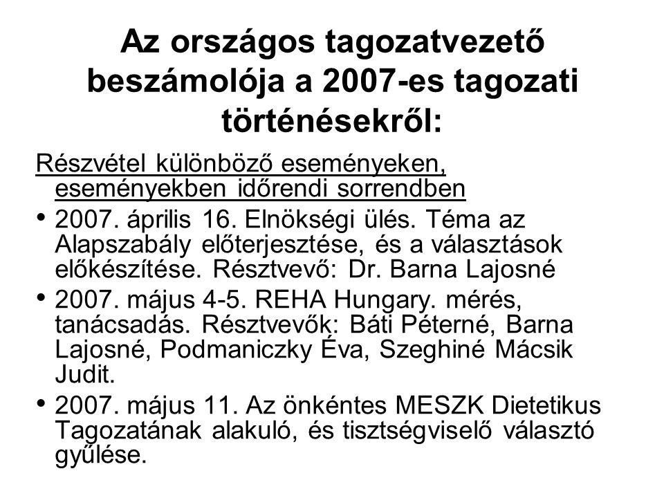 Az országos tagozatvezető beszámolója a 2007-es tagozati történésekről: