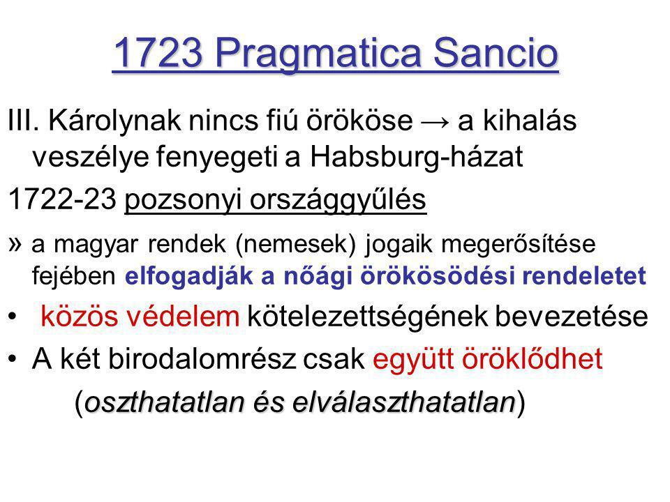 1723 Pragmatica Sancio III. Károlynak nincs fiú örököse → a kihalás veszélye fenyegeti a Habsburg-házat.