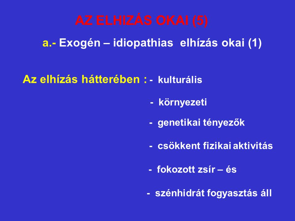 a.- Exogén – idiopathias elhízás okai (1) - szénhidrát fogyasztás áll