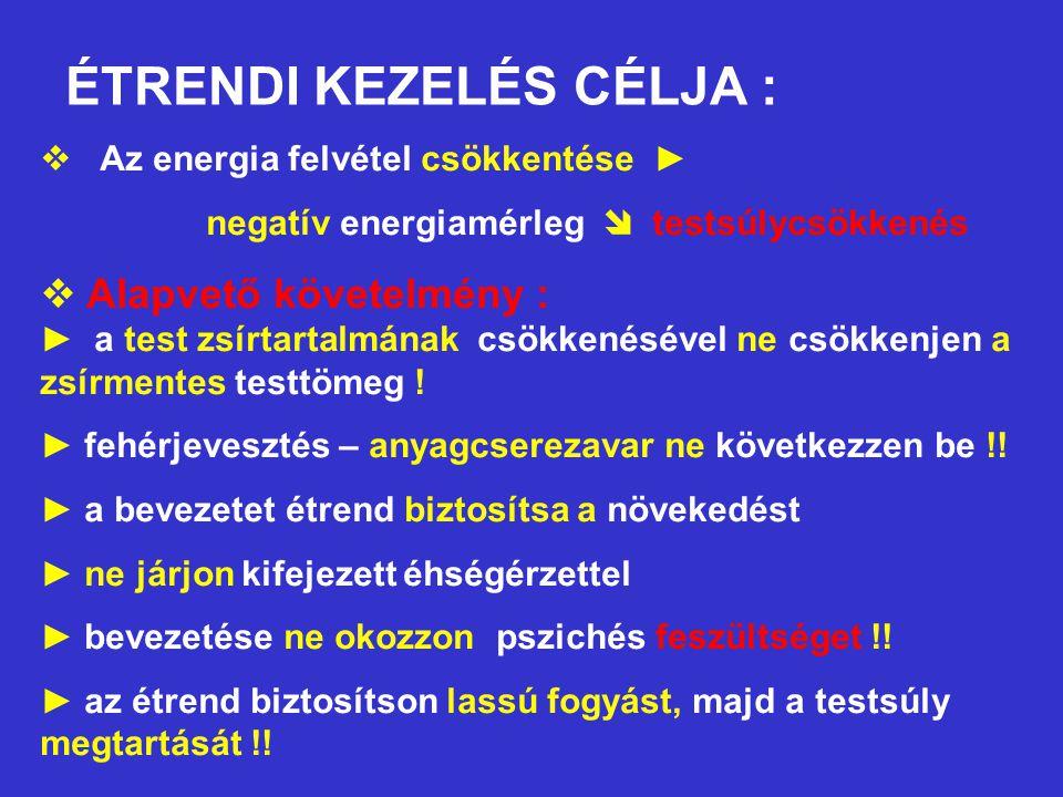 ÉTRENDI KEZELÉS CÉLJA :