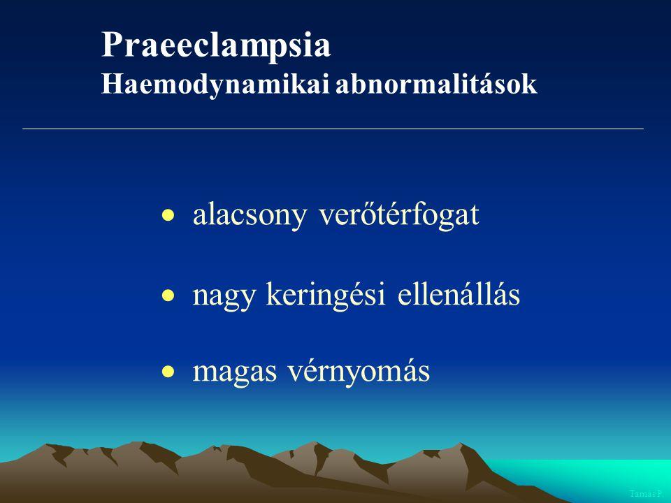 Praeeclampsia  alacsony verőtérfogat  nagy keringési ellenállás