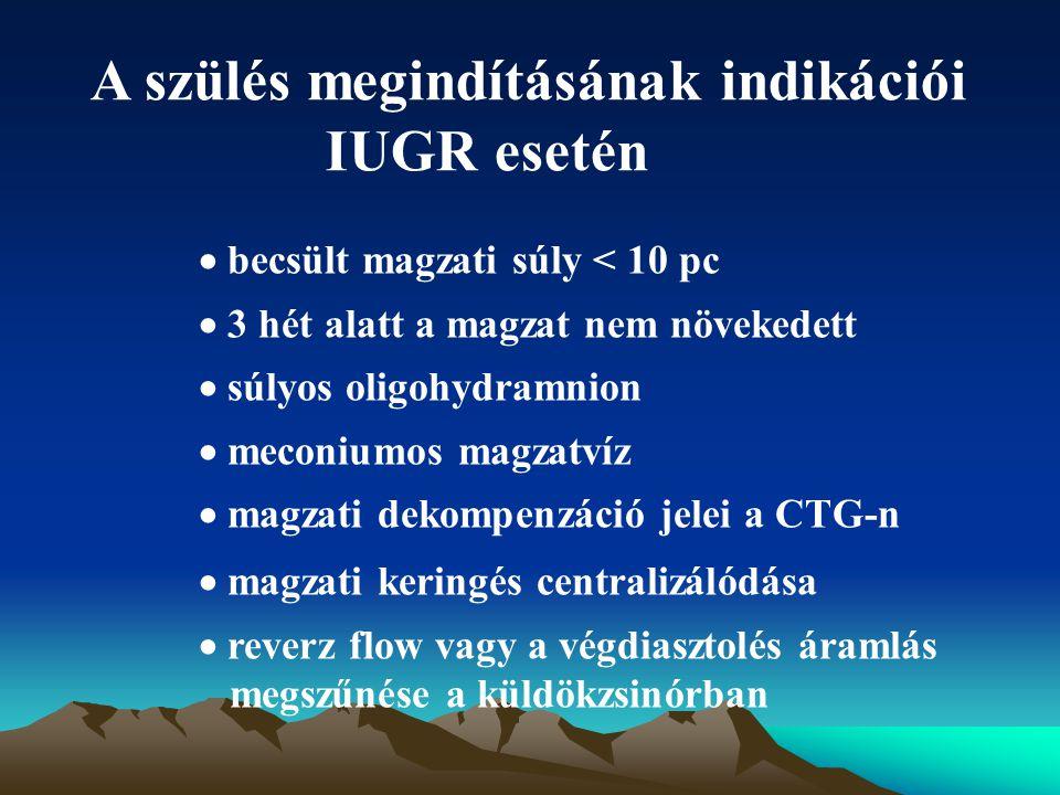 A szülés megindításának indikációi IUGR esetén