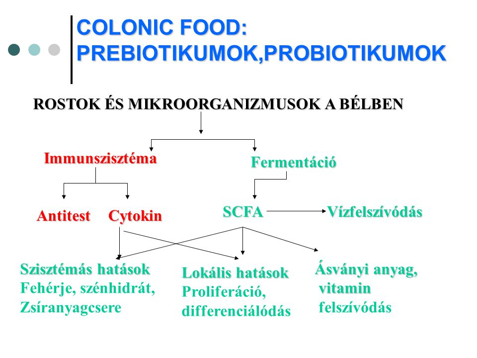 COLONIC FOOD: PREBIOTIKUMOK,PROBIOTIKUMOK