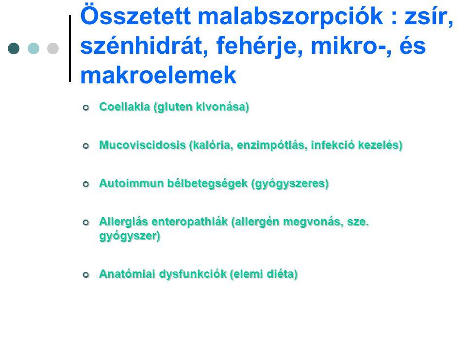 Összetett malabszorpciók : zsír, szénhidrát, fehérje, mikro-, és makroelemek
