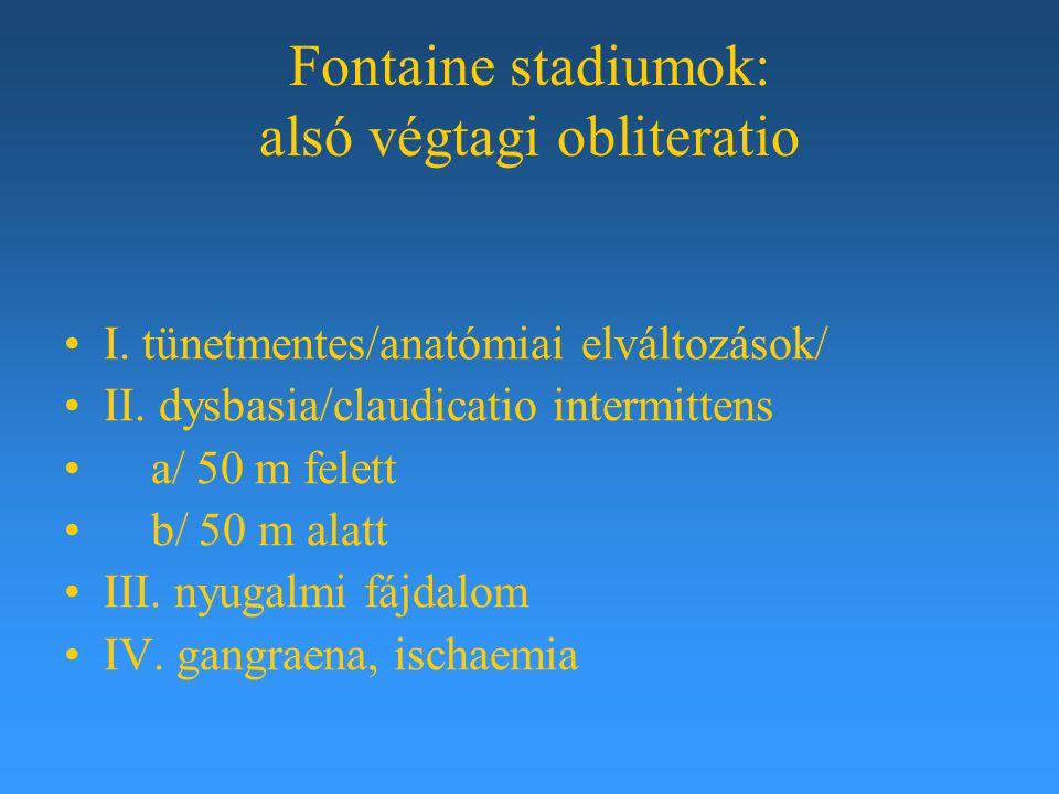 Fontaine stadiumok: alsó végtagi obliteratio