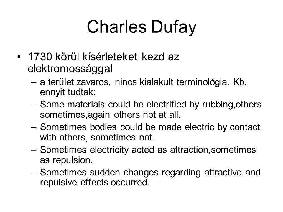 Charles Dufay 1730 körül kísérleteket kezd az elektromossággal