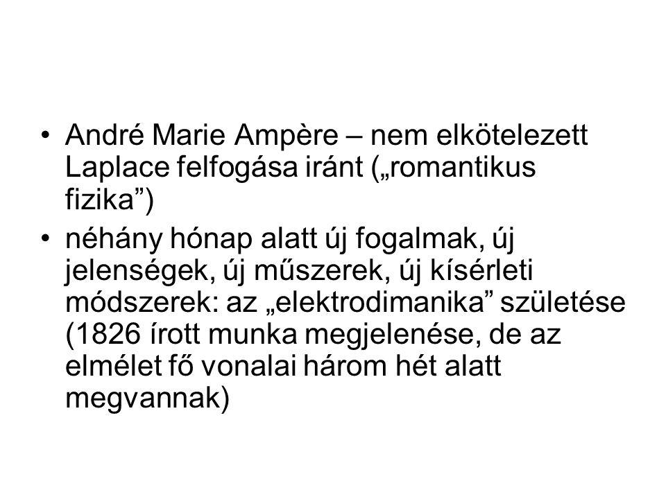 """André Marie Ampère – nem elkötelezett Laplace felfogása iránt (""""romantikus fizika )"""
