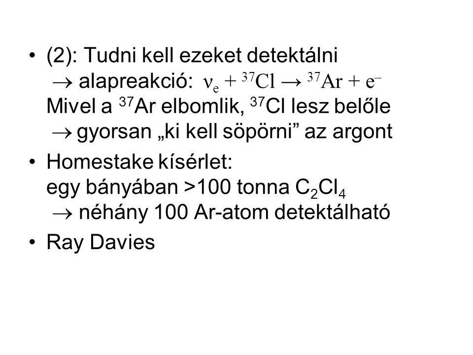 """(2): Tudni kell ezeket detektálni  alapreakció: νe + 37Cl → 37Ar + e– Mivel a 37Ar elbomlik, 37Cl lesz belőle  gyorsan """"ki kell söpörni az argont"""