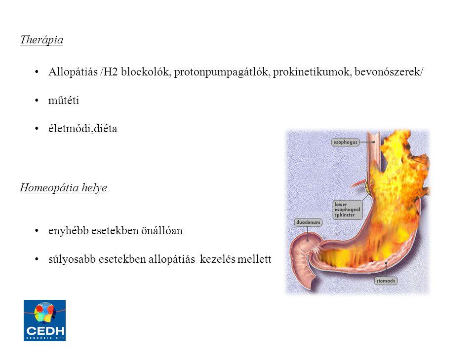 Therápia Allopátiás /H2 blockolók, protonpumpagátlók, prokinetikumok, bevonószerek/ műtéti. életmódi,diéta.