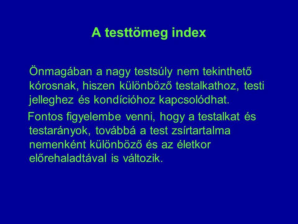 A testtömeg index Önmagában a nagy testsúly nem tekinthető kórosnak, hiszen különböző testalkathoz, testi jelleghez és kondícióhoz kapcsolódhat.