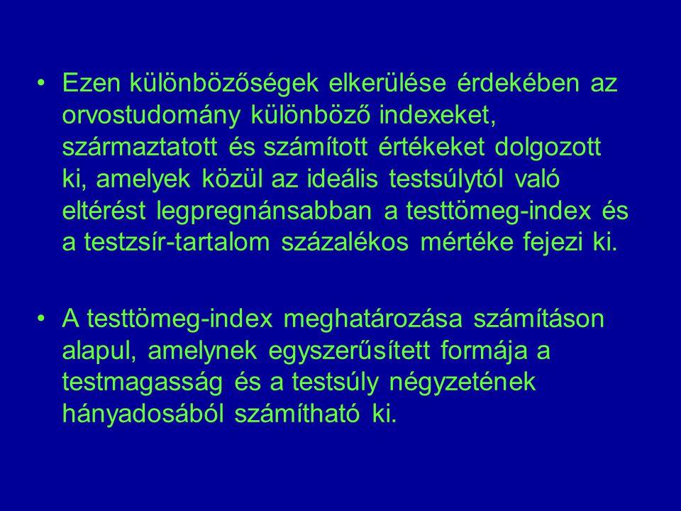 Ezen különbözőségek elkerülése érdekében az orvostudomány különböző indexeket, származtatott és számított értékeket dolgozott ki, amelyek közül az ideális testsúlytól való eltérést legpregnánsabban a testtömeg-index és a testzsír-tartalom százalékos mértéke fejezi ki.