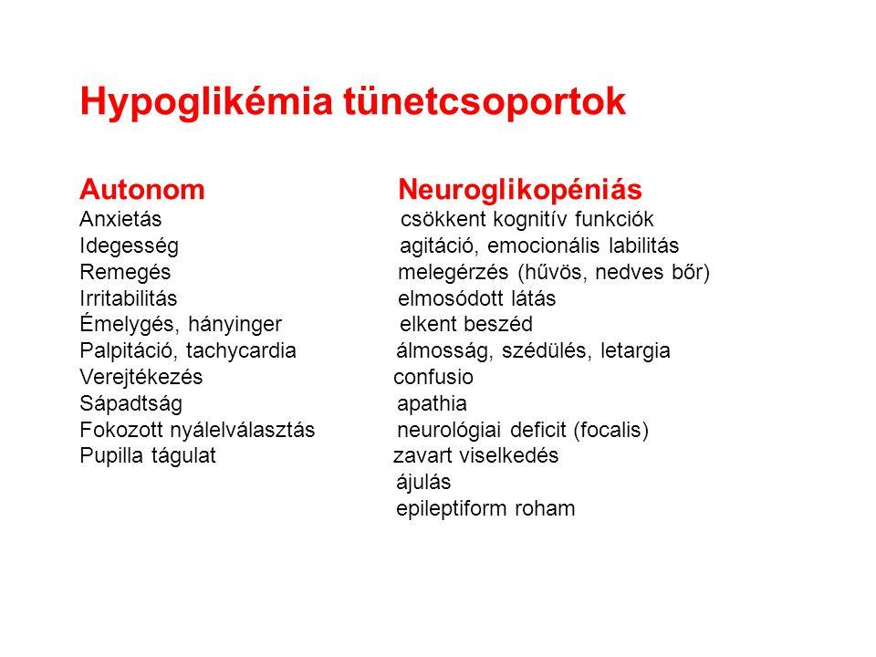 Hypoglikémia tünetcsoportok