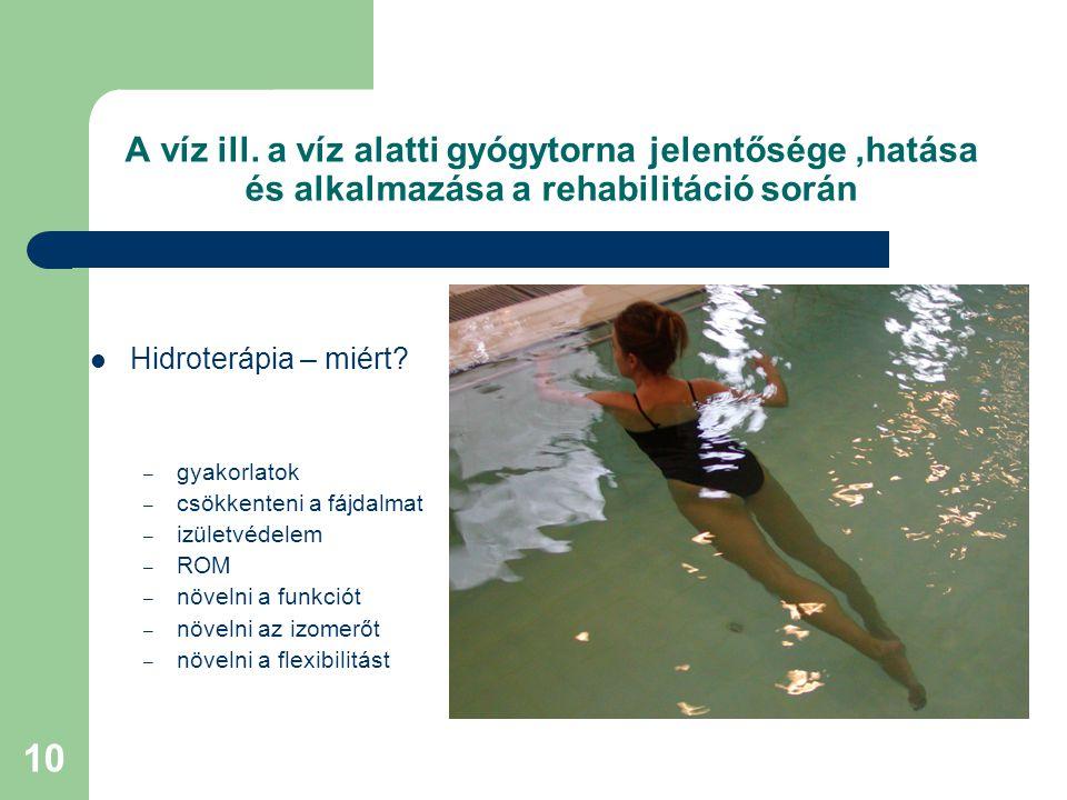 A víz ill. a víz alatti gyógytorna jelentősége ,hatása és alkalmazása a rehabilitáció során