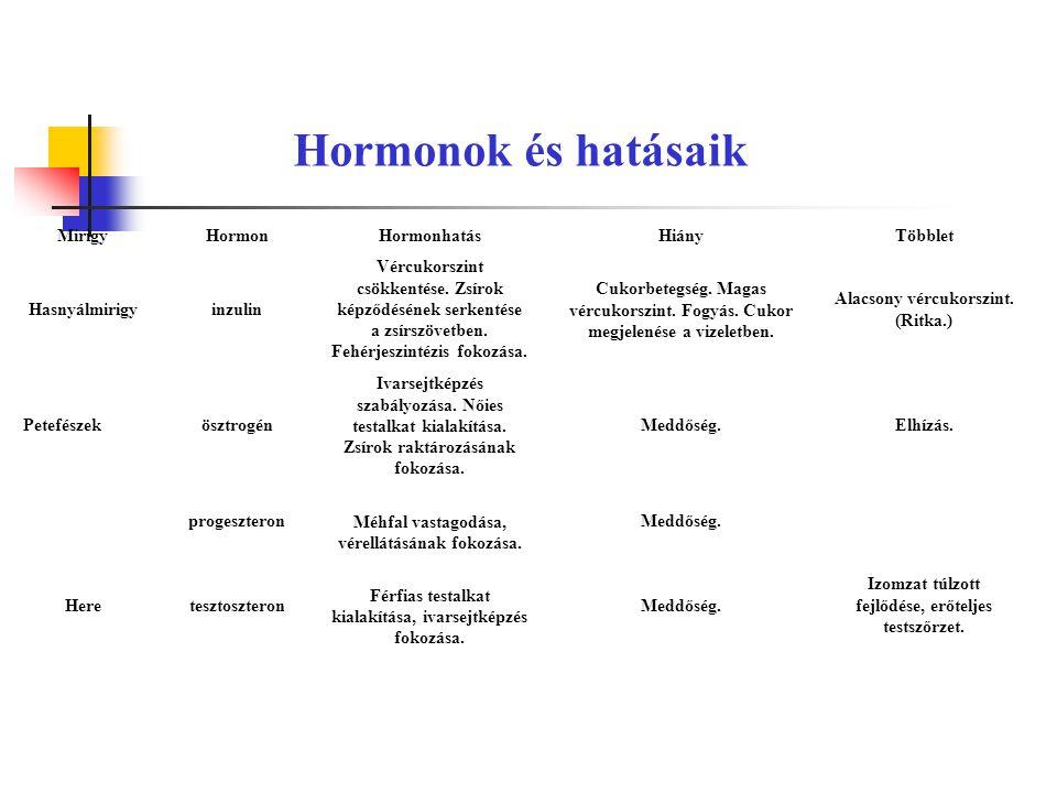 Hormonok és hatásaik Mirigy Hormon Hormonhatás Hiány Többlet