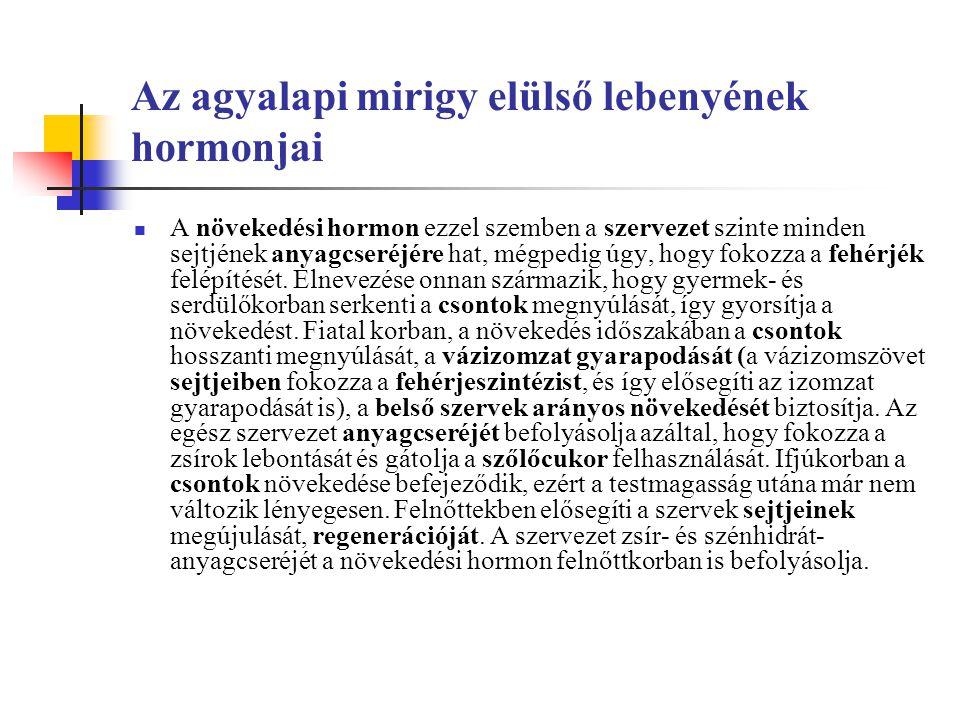 Az agyalapi mirigy elülső lebenyének hormonjai