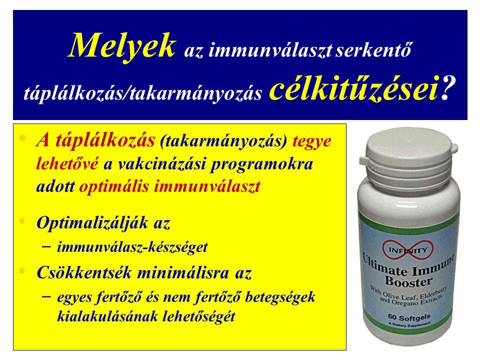 Melyek az immunválaszt serkentő táplálkozás/takarmányozás célkitűzései