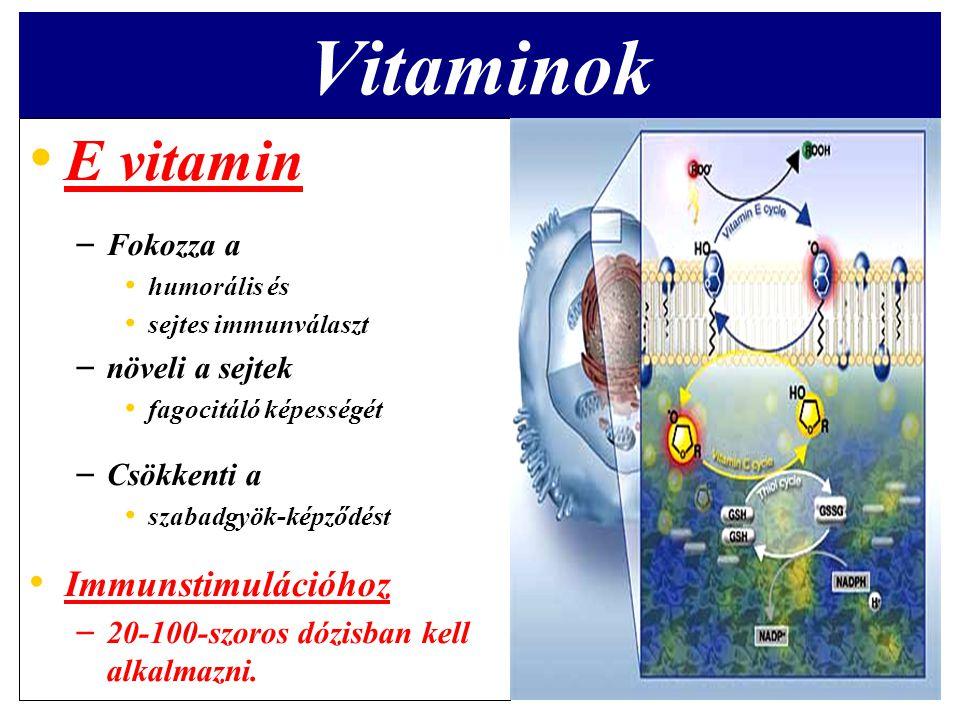 Vitaminok E vitamin Immunstimulációhoz Fokozza a növeli a sejtek