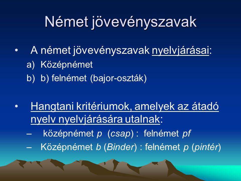 Német jövevényszavak A német jövevényszavak nyelvjárásai: