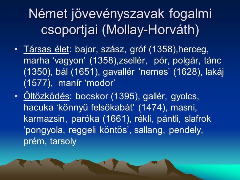Német jövevényszavak fogalmi csoportjai (Mollay-Horváth)