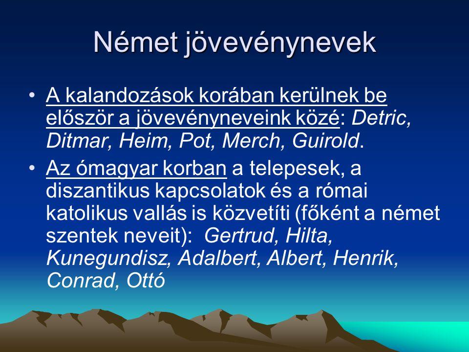 Német jövevénynevek A kalandozások korában kerülnek be először a jövevényneveink közé: Detric, Ditmar, Heim, Pot, Merch, Guirold.