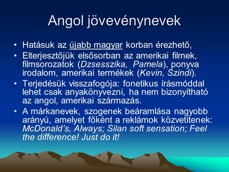 Angol jövevénynevek Hatásuk az újabb magyar korban érezhető,