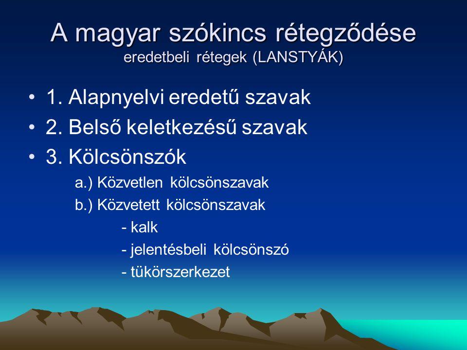 A magyar szókincs rétegződése eredetbeli rétegek (LANSTYÁK)