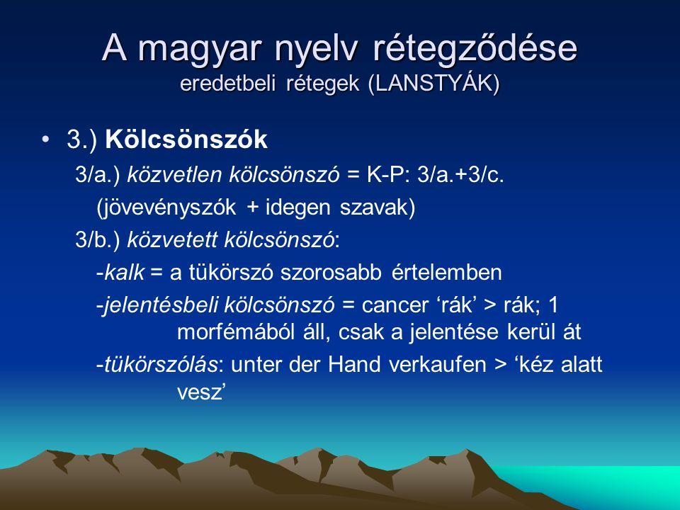 A magyar nyelv rétegződése eredetbeli rétegek (LANSTYÁK)