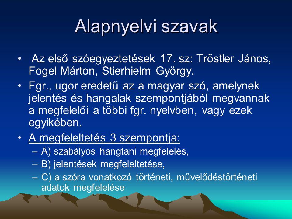 Alapnyelvi szavak Az első szóegyeztetések 17. sz: Tröstler János, Fogel Márton, Stierhielm György.
