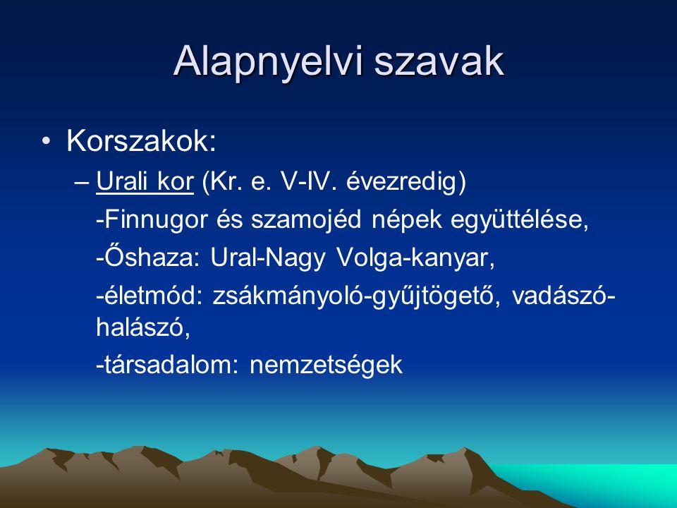 Alapnyelvi szavak Korszakok: Urali kor (Kr. e. V-IV. évezredig)