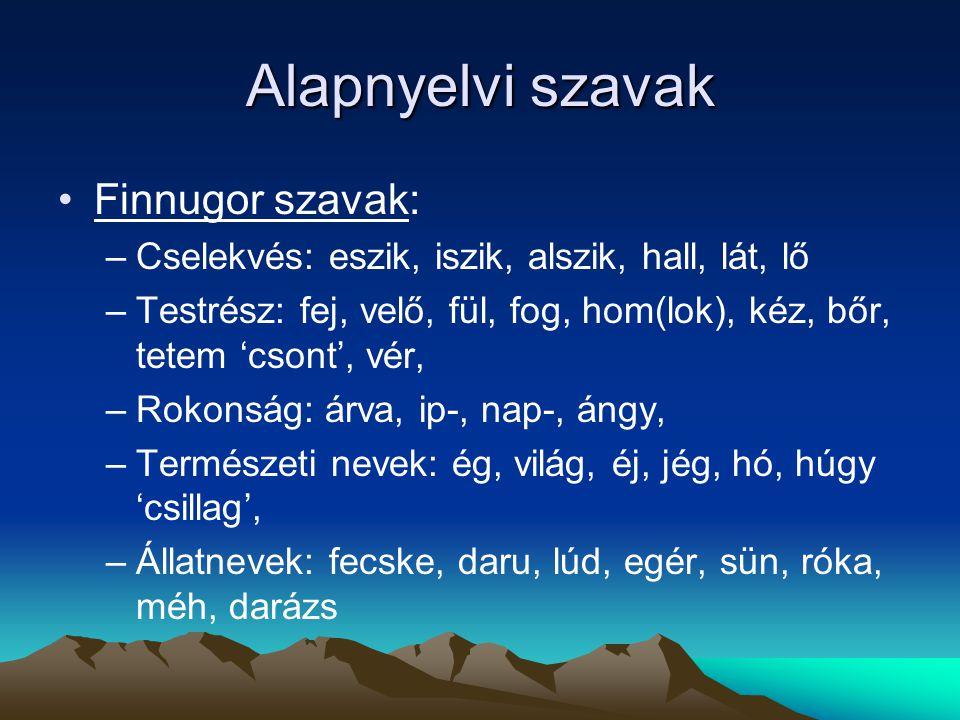 Alapnyelvi szavak Finnugor szavak: