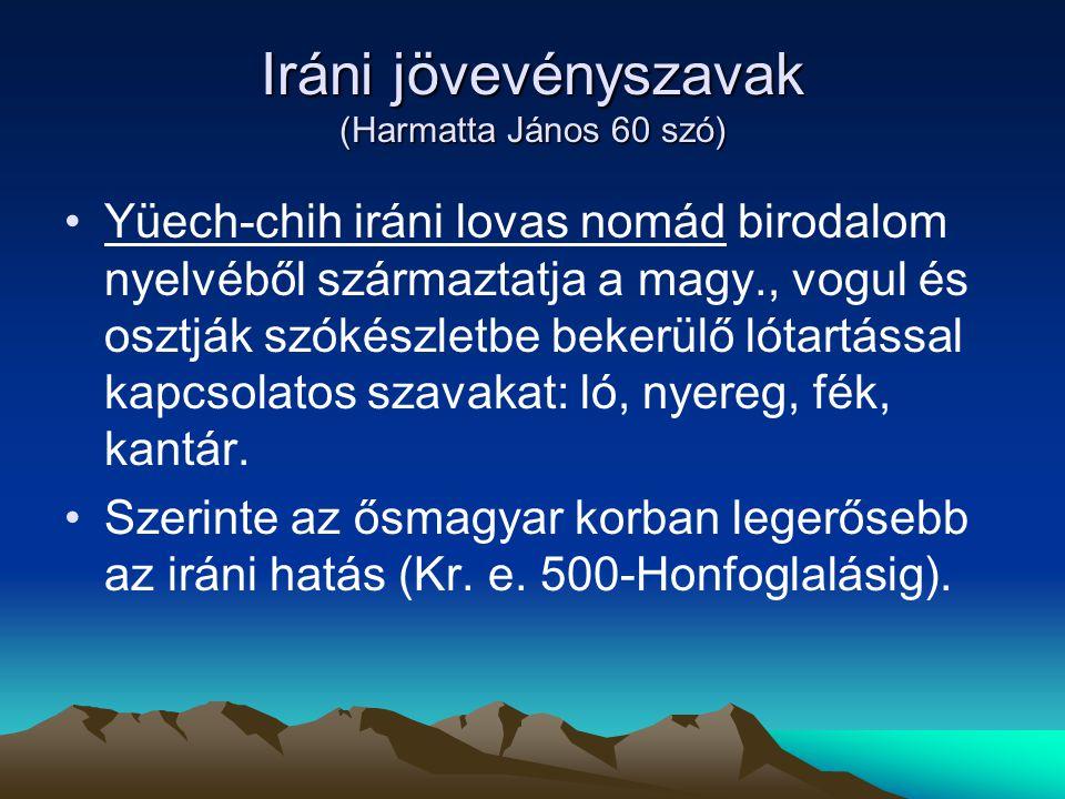 Iráni jövevényszavak (Harmatta János 60 szó)