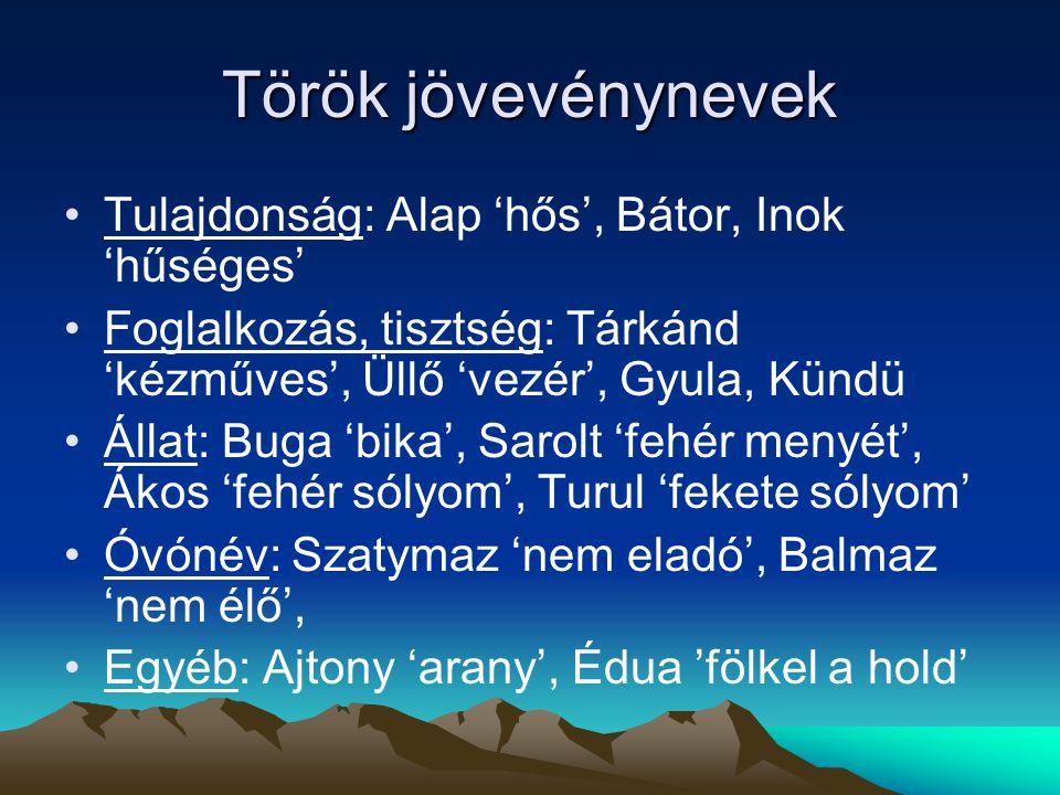 Török jövevénynevek Tulajdonság: Alap 'hős', Bátor, Inok 'hűséges'