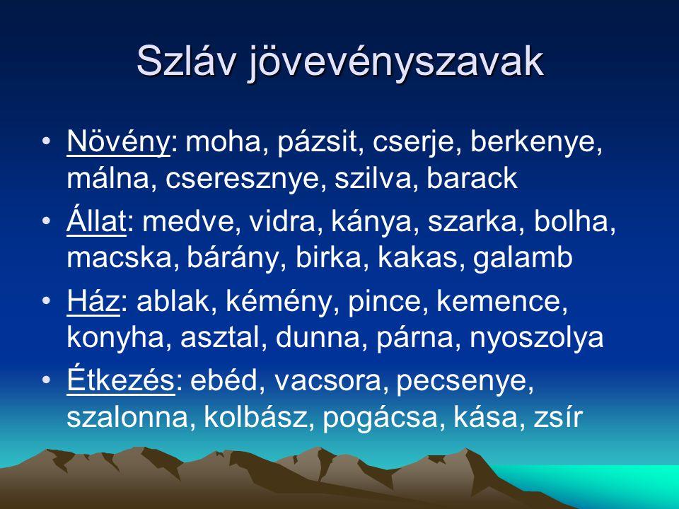 Szláv jövevényszavak Növény: moha, pázsit, cserje, berkenye, málna, cseresznye, szilva, barack.
