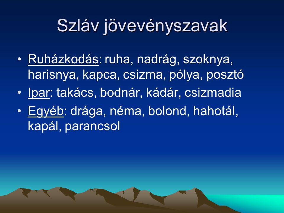 Szláv jövevényszavak Ruházkodás: ruha, nadrág, szoknya, harisnya, kapca, csizma, pólya, posztó. Ipar: takács, bodnár, kádár, csizmadia.