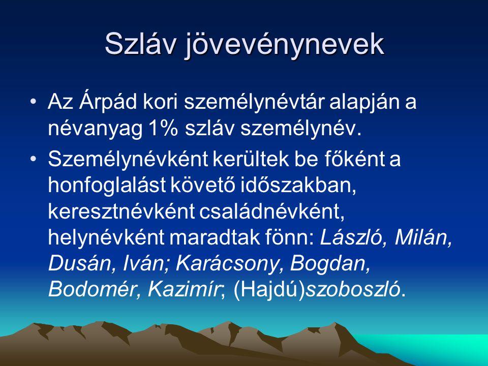 Szláv jövevénynevek Az Árpád kori személynévtár alapján a névanyag 1% szláv személynév.