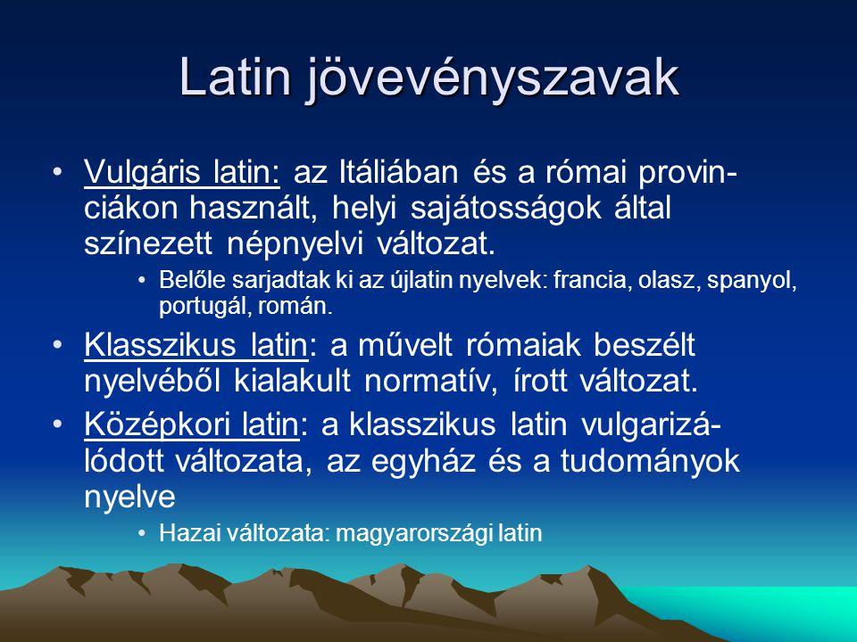 Latin jövevényszavak Vulgáris latin: az Itáliában és a római provin-ciákon használt, helyi sajátosságok által színezett népnyelvi változat.