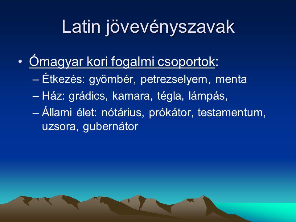Latin jövevényszavak Ómagyar kori fogalmi csoportok: