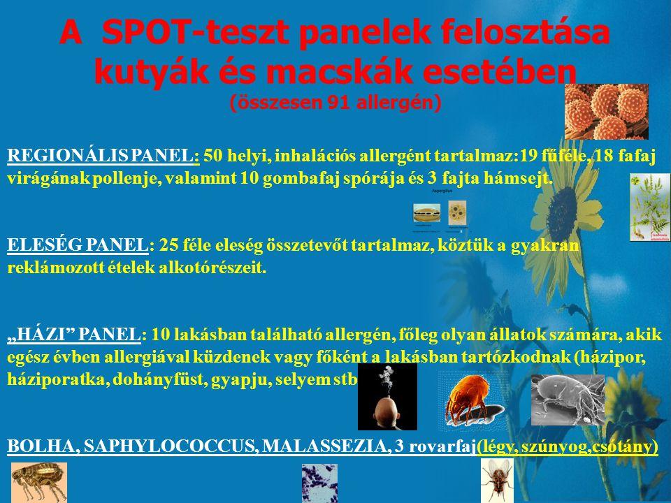 A SPOT-teszt panelek felosztása kutyák és macskák esetében (összesen 91 allergén)