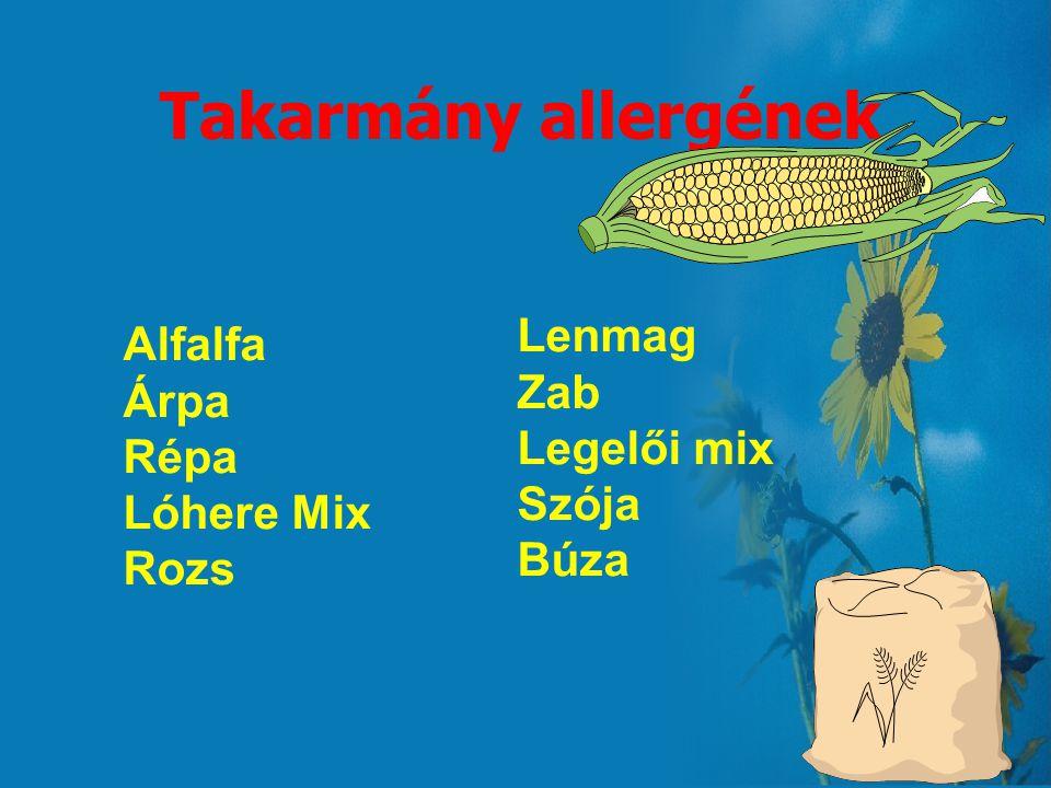 Takarmány allergének Lenmag Alfalfa Zab Árpa Legelői mix Répa Szója