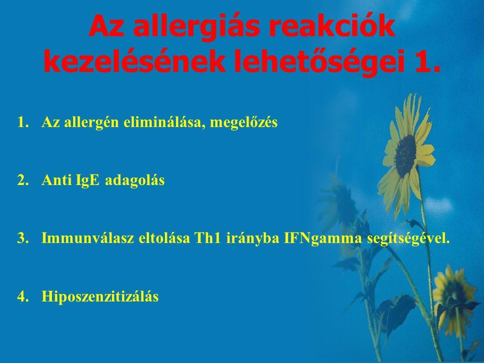 Az allergiás reakciók kezelésének lehetőségei 1.