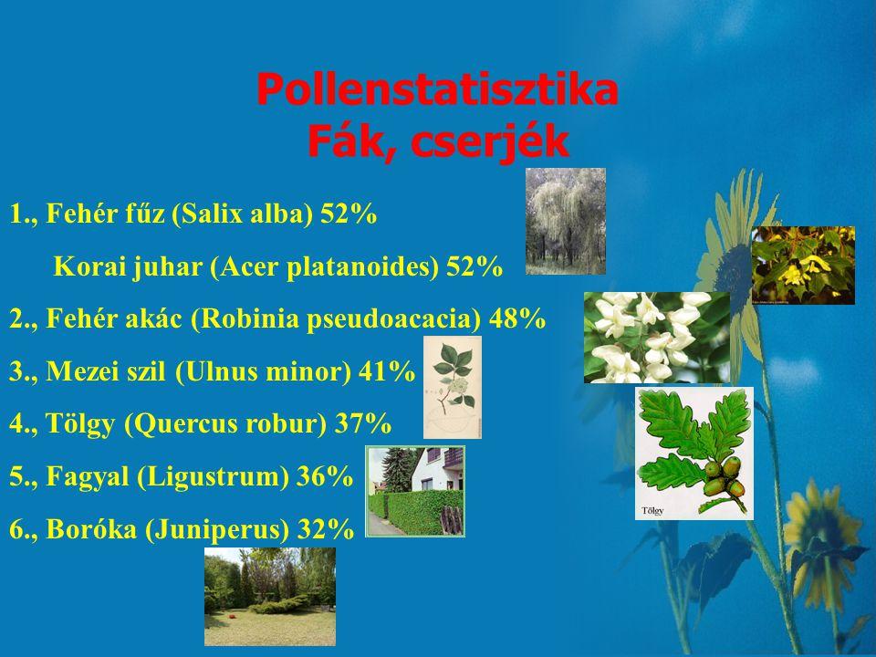 Pollenstatisztika Fák, cserjék