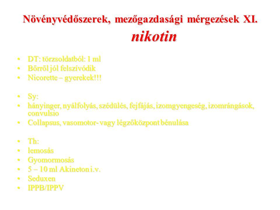 Növényvédőszerek, mezőgazdasági mérgezések XI. nikotin