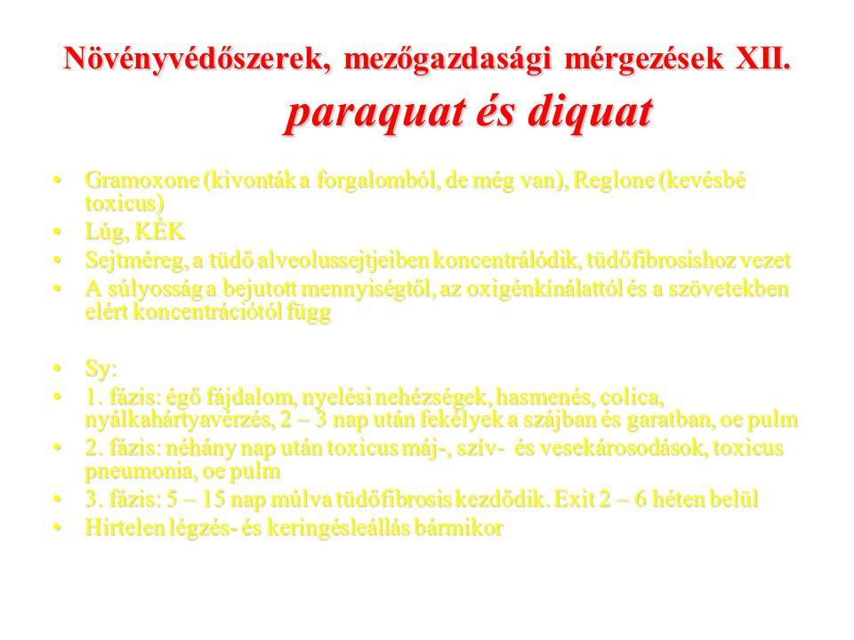 Növényvédőszerek, mezőgazdasági mérgezések XII. paraquat és diquat