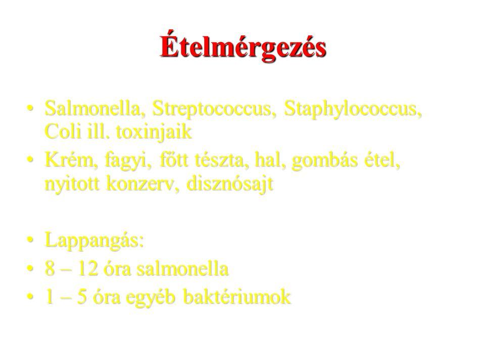 Ételmérgezés Salmonella, Streptococcus, Staphylococcus, Coli ill. toxinjaik. Krém, fagyi, főtt tészta, hal, gombás étel, nyitott konzerv, disznósajt.