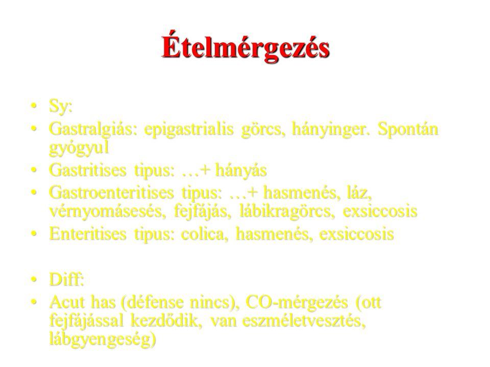 Ételmérgezés Sy: Gastralgiás: epigastrialis görcs, hányinger. Spontán gyógyul. Gastritises tipus: …+ hányás.