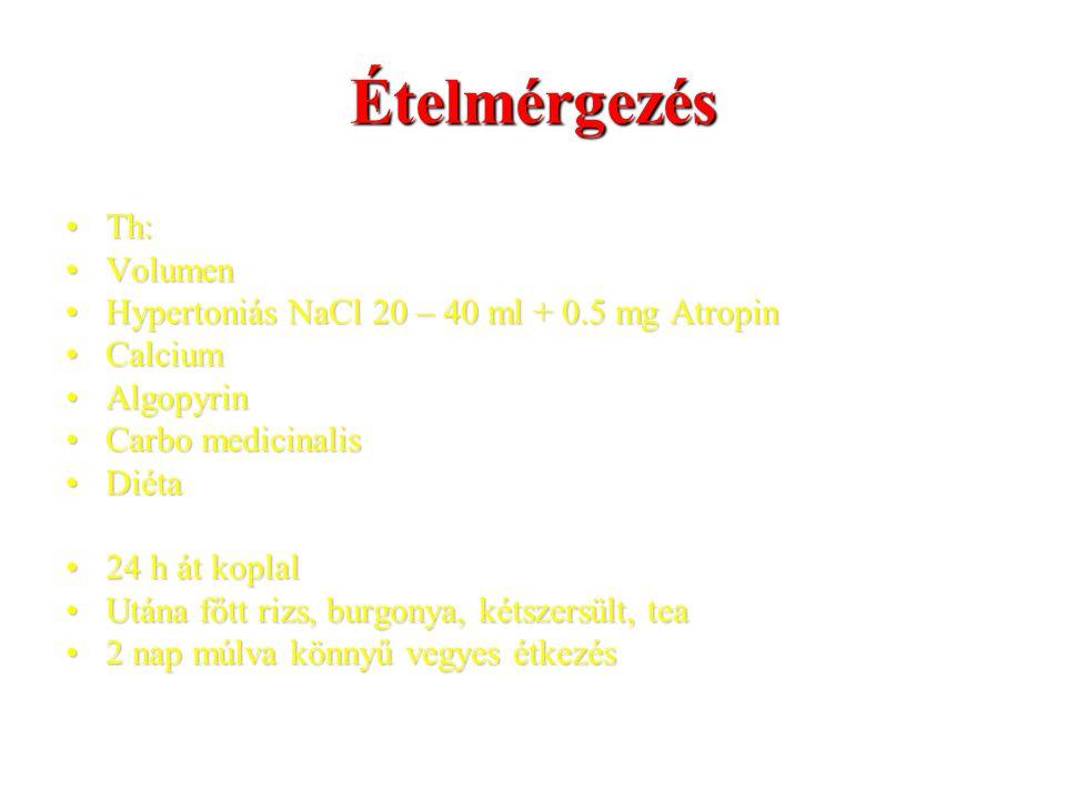 Ételmérgezés Th: Volumen Hypertoniás NaCl 20 – 40 ml + 0.5 mg Atropin