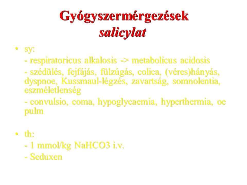 Gyógyszermérgezések salicylat