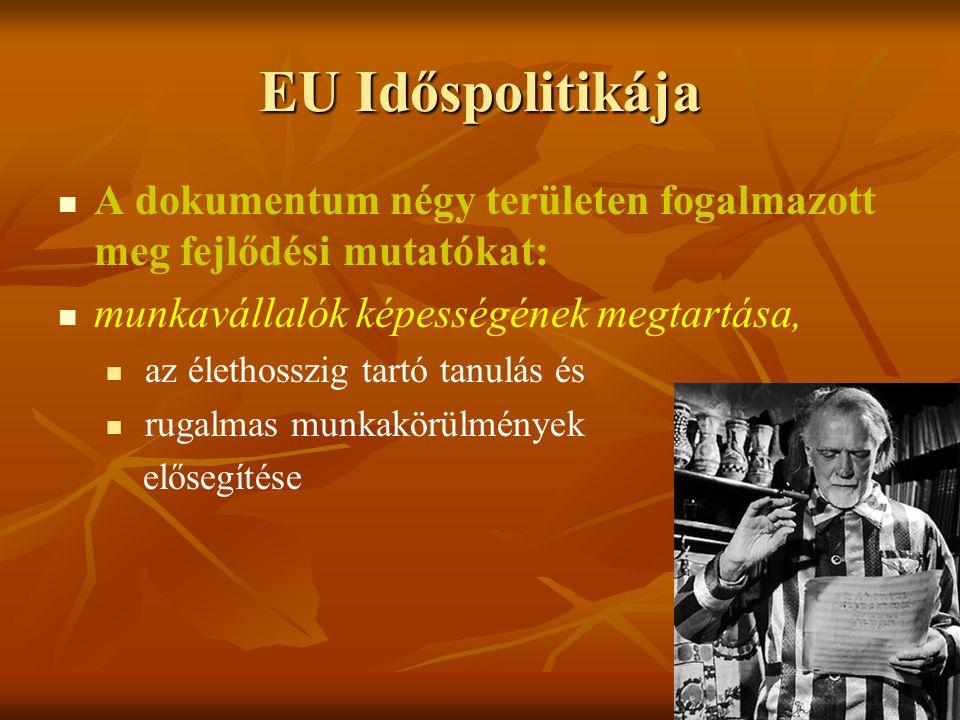 EU Időspolitikája A dokumentum négy területen fogalmazott meg fejlődési mutatókat: munkavállalók képességének megtartása,