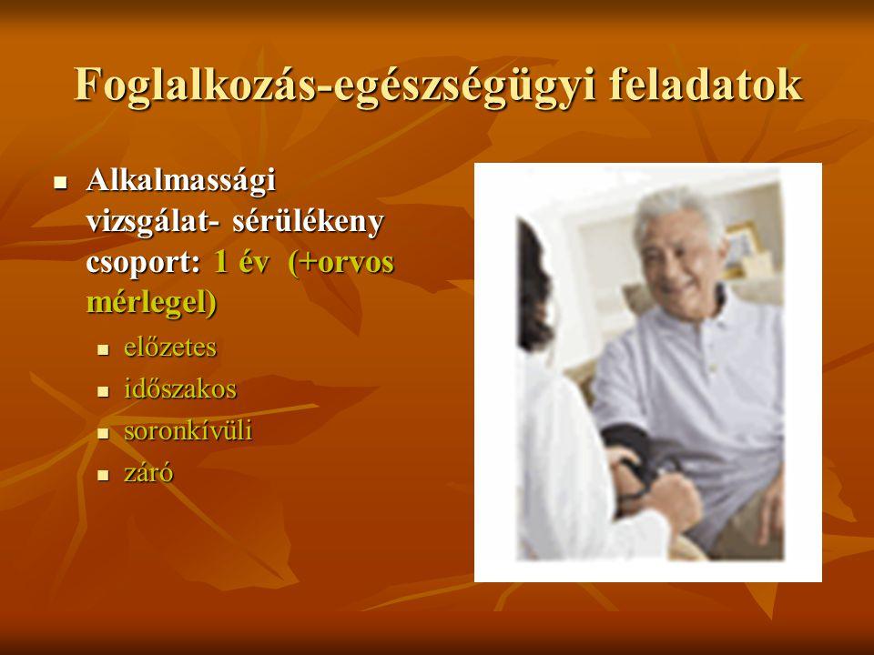 Foglalkozás-egészségügyi feladatok